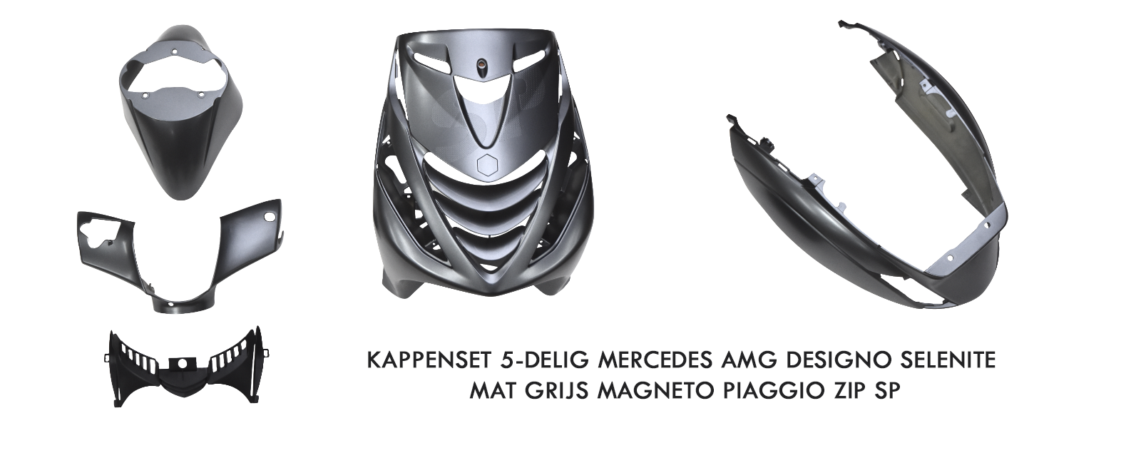 Kappenset 5-delig Mercedes AMG Designo Selenite Mat Grijs Magneto Piaggio Zip SP