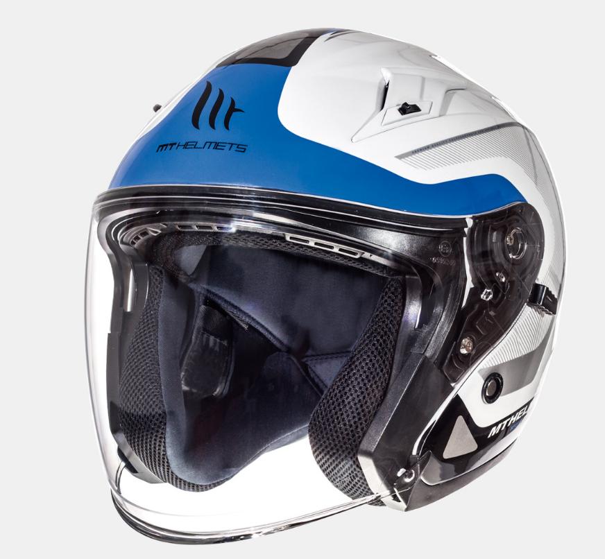 Helm MT Crossroad Wit/Blauw. Diverse maten.