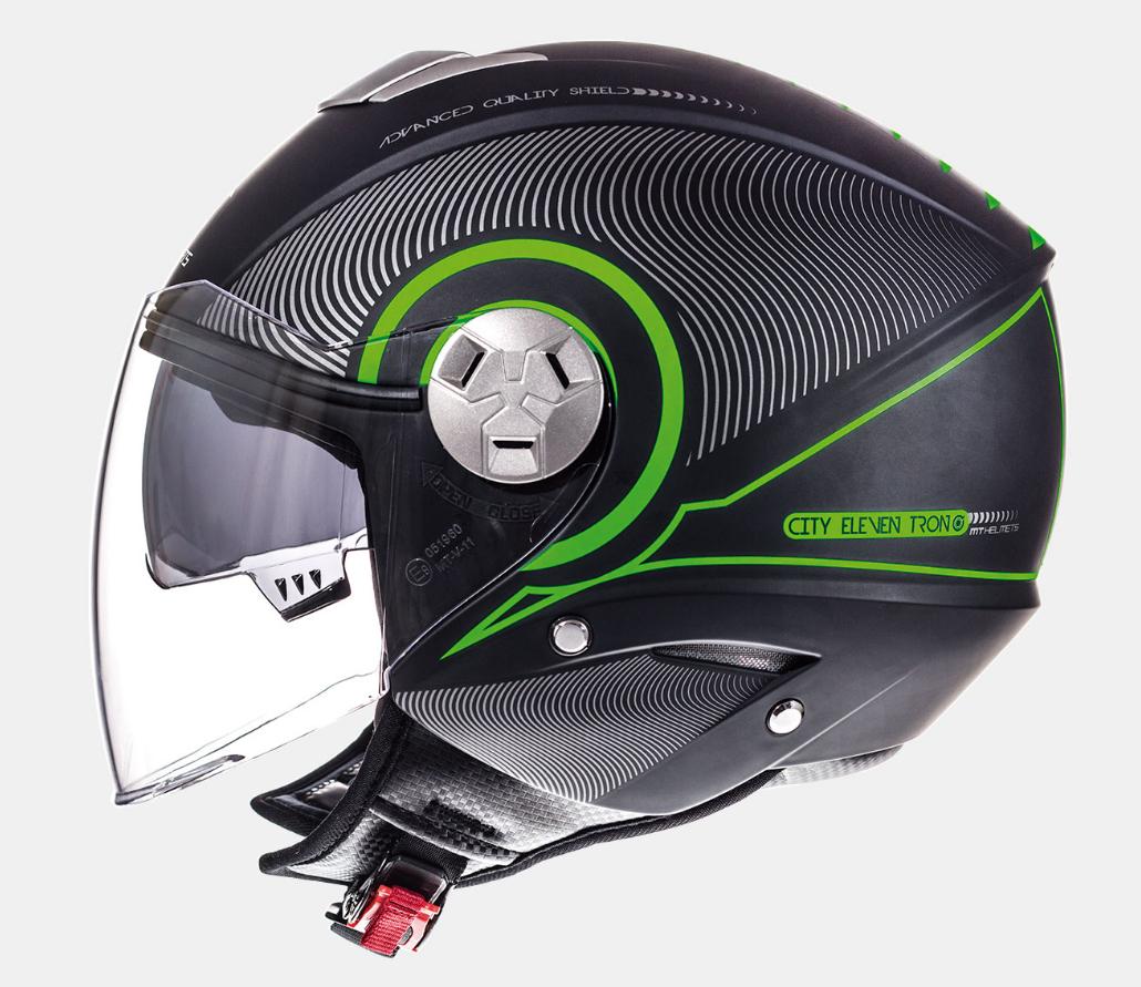 Helm MT Tron Zwart/Groen. Diverse Maten.