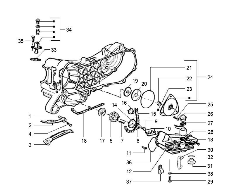 Zoek onderdelen op tekening Oliepomp Vespa + Piaggio 4-Takt