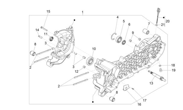 Bevestigingshuis olie mixpomp voor Piaggio / Vespa 4-takt modellen.
