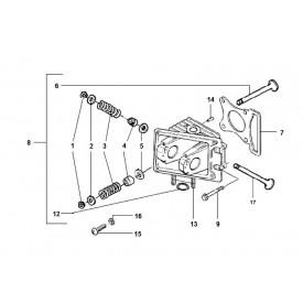 Zoek onderdelen op tekening. Cilinderkop 4-takt 2V