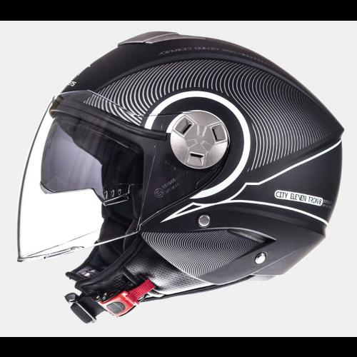 Helm MT Tron Zwart/Wit. Diverse maten.